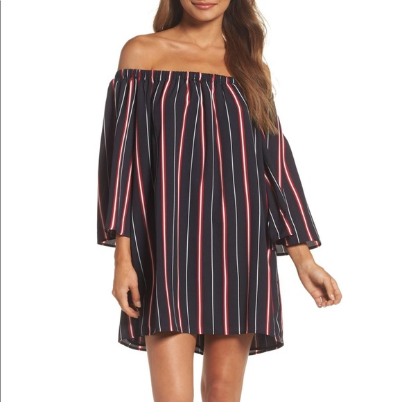 French Connection Dresses & Skirts - French Connection Hasen Striped Off Shoulder Dress